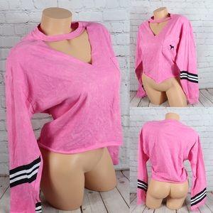 VS PINK Signature Logo Long Sleeve Crop Tee Shirt